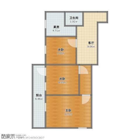 双榆树南里3室1厅1卫1厨53.00㎡户型图