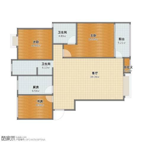 冠城大通珑湾3室1厅1卫2厨92.20㎡户型图