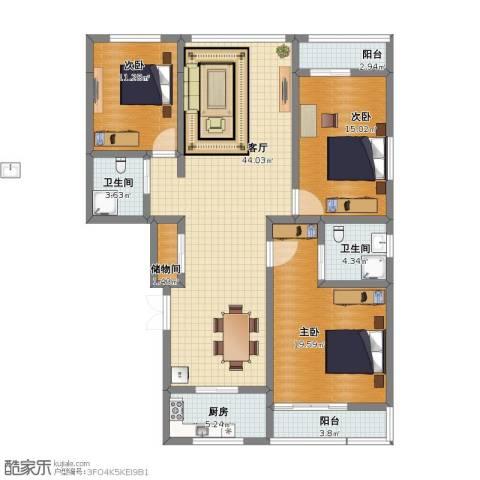 草场门大街123号3室1厅1卫2厨111.20㎡户型图
