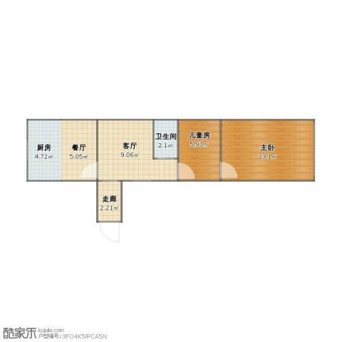 青浦金泽镇老公房2室2厅1卫1厨42.10㎡户型图