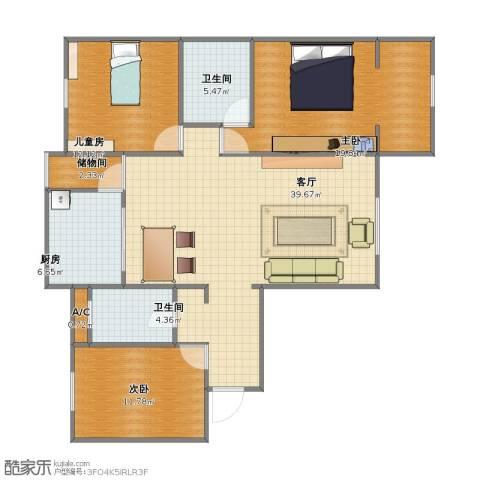天朗大兴郡二期瀚苑3室1厅1卫2厨103.00㎡户型图