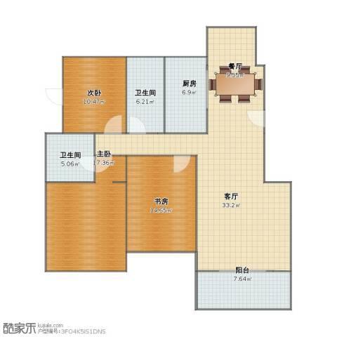 翠湖1号3室2厅1卫2厨111.00㎡户型图