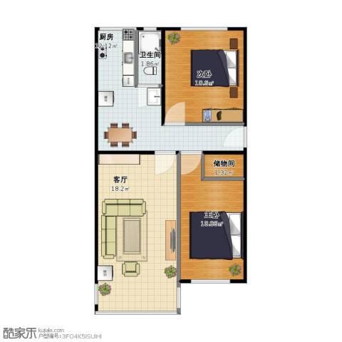 皂君庙甲2号院2室1厅1卫1厨54.10㎡户型图