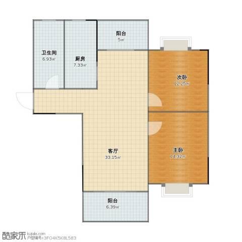 东方明珠嘉苑2室1厅1卫1厨85.30㎡户型图