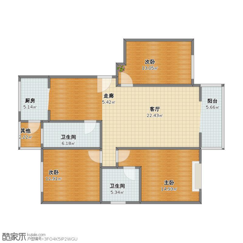 未知小区复制的方案_恒泰户型3室1厅1卫2厨