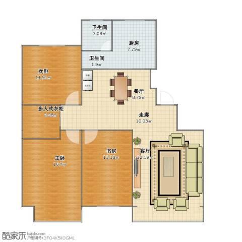 金域蓝山3室2厅1卫2厨99.30㎡户型图