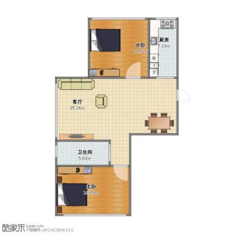 雍华阁2室1厅1卫1厨80.00㎡户型图