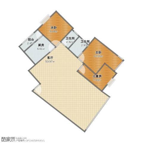包家巷123号院3室1厅1卫2厨97.00㎡户型图
