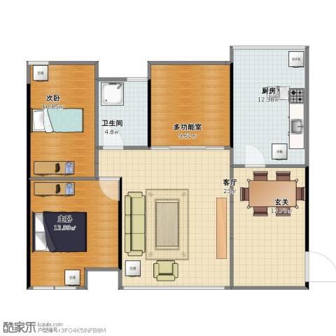 宏远御庭山别墅2室1厅1卫1厨86.30㎡户型图