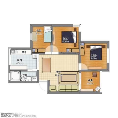 鹤北一街坊4室1厅1卫1厨60.00㎡户型图