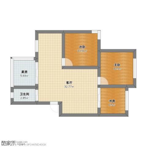 鹤北一街坊3室1厅1卫1厨70.00㎡户型图
