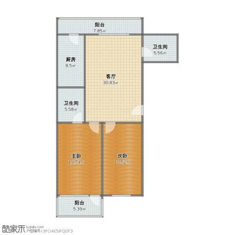 双河北里2室1厅1卫2厨101.00㎡户型图