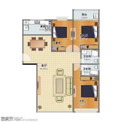御家兰庭3室1厅1卫2厨100.00㎡户型图