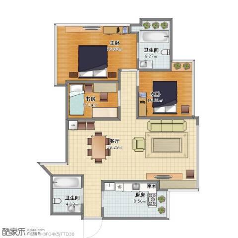 湖畔天下3室1厅1卫2厨93.00㎡户型图