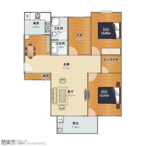 南池水景园3室1厅1卫2厨80.50㎡户型图