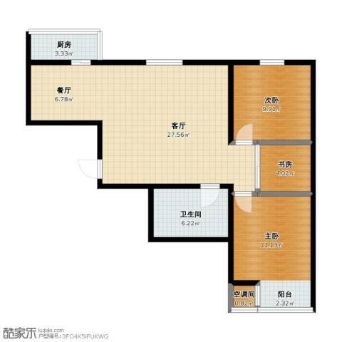 前进花园牡丹苑3室2厅1卫1厨72.10㎡户型图