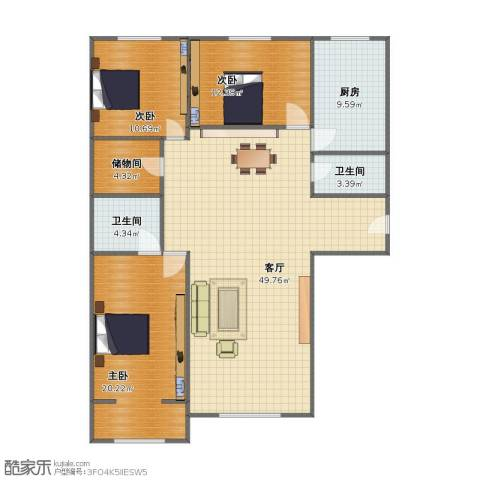 世纪华庭二期3室1厅1卫2厨115.00㎡户型图