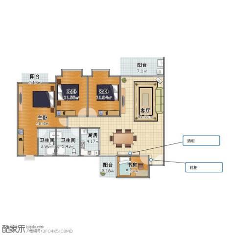 五星美居4室1厅1卫2厨117.00㎡户型图