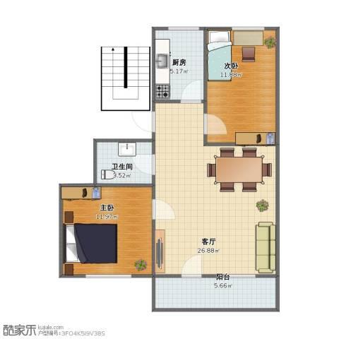 南郎家园住宅小区2室1厅1卫1厨65.00㎡户型图