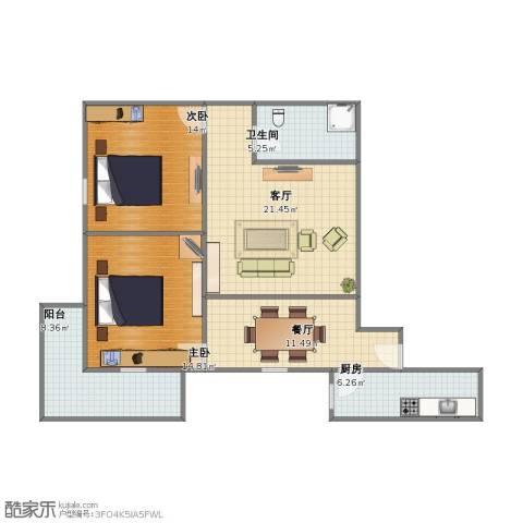 嘉瑞通小区2室2厅1卫1厨82.00㎡户型图