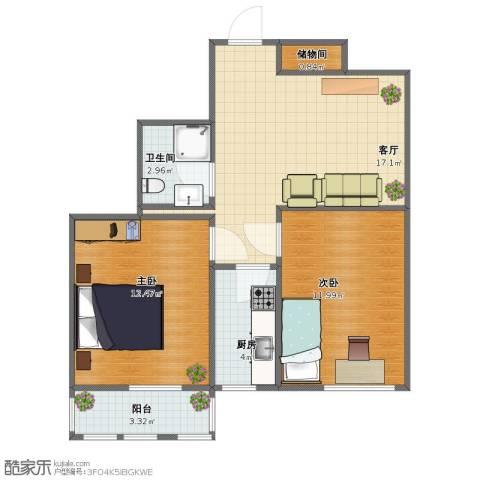 车道沟南里2室1厅1卫1厨53.00㎡户型图