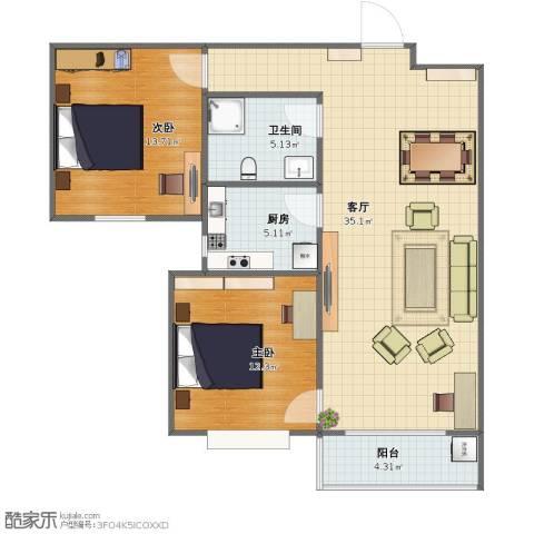 旭东花园2室1厅1卫1厨76.00㎡户型图