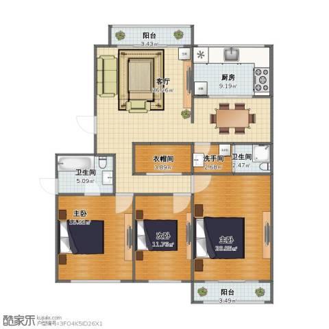 仁和盛庭3室1厅1卫2厨114.00㎡户型图