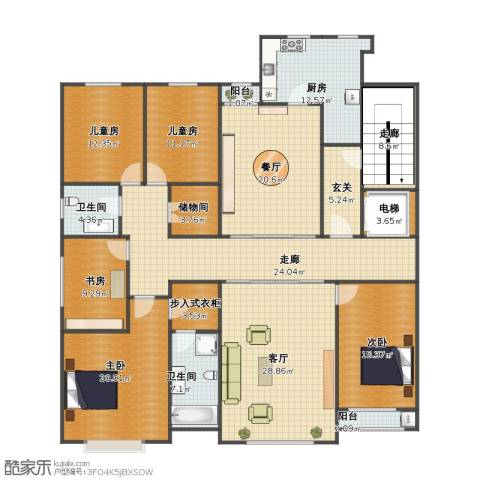 天成郡府5室2厅1卫2厨194.00㎡户型图