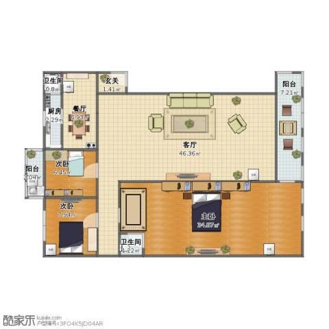 北门新苑3室2厅1卫2厨118.00㎡户型图