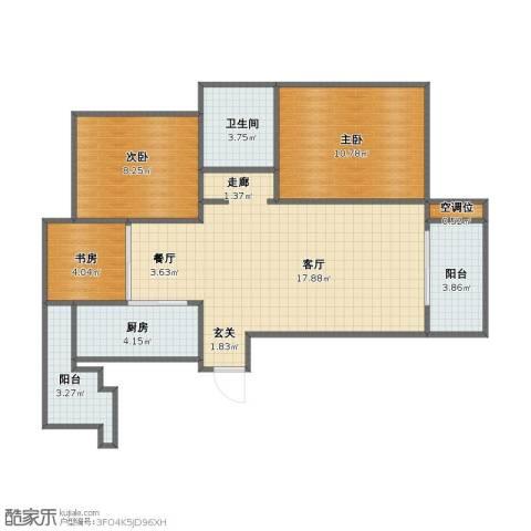 远洋香奈3室2厅1卫1厨63.30㎡户型图