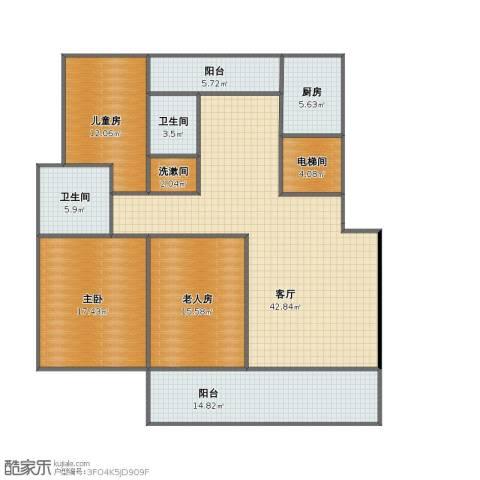 中天瑞景城3室1厅1卫2厨130.00㎡户型图