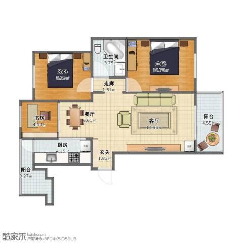 远洋香奈3室2厅1卫1厨64.00㎡户型图