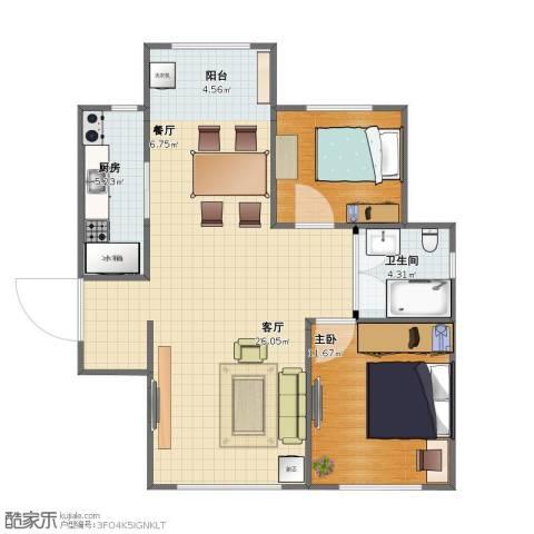 喜蜜湾1室2厅1卫1厨66.00㎡户型图