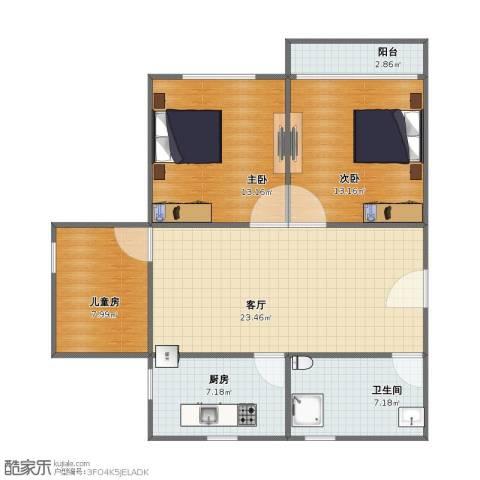 花园五村3室1厅1卫1厨75.00㎡户型图