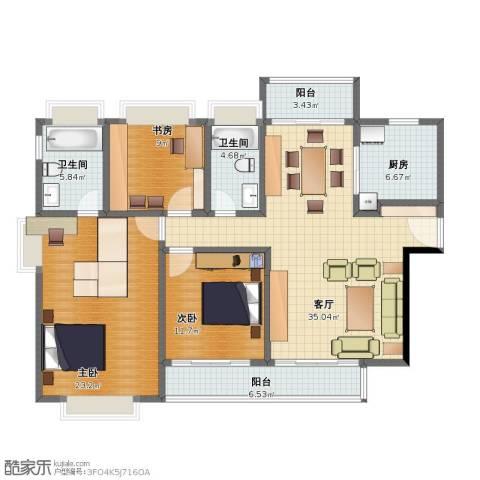 江南大道中128号大院3室1厅1卫2厨106.00㎡户型图