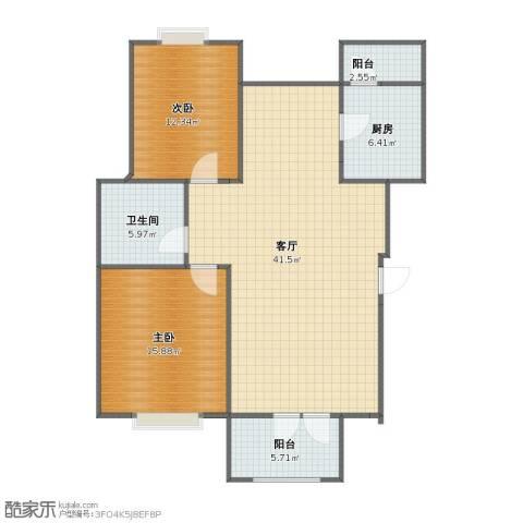 香水湾2室1厅1卫1厨90.30㎡户型图