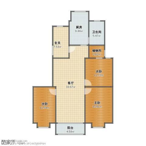 书香名邸3室1厅1卫1厨104.00㎡户型图