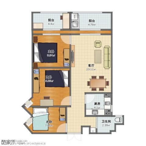 华坤花园一期3室1厅1卫1厨67.10㎡户型图