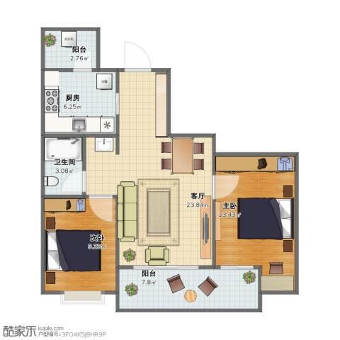 万科悦峰2室1厅1卫1厨66.50㎡户型图