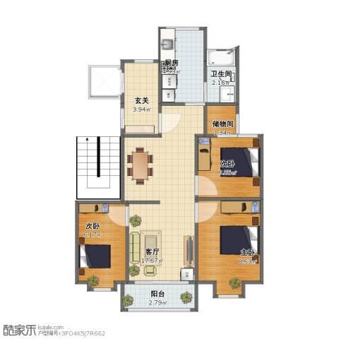 书香名邸3室1厅1卫1厨54.00㎡户型图