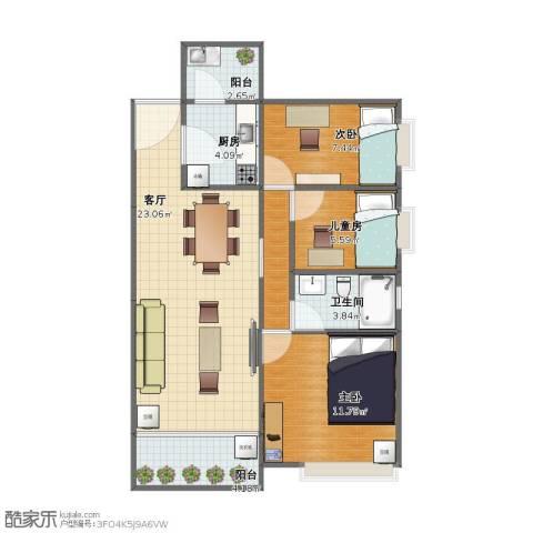智博E区3室1厅1卫1厨65.10㎡户型图
