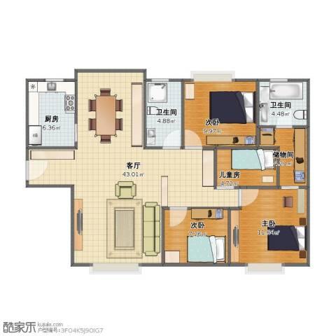 百花公寓4室1厅1卫2厨96.50㎡户型图