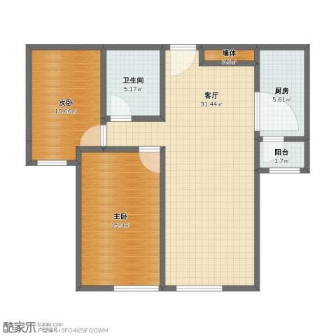 保利罗兰香谷二期2室1厅1卫1厨71.00㎡户型图