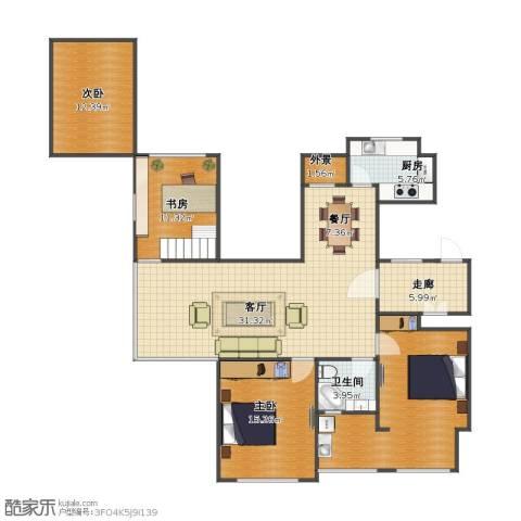 金色城邦3室2厅1卫1厨116.20㎡户型图