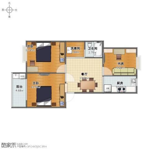 阳光四季园3室1厅1卫1厨64.40㎡户型图