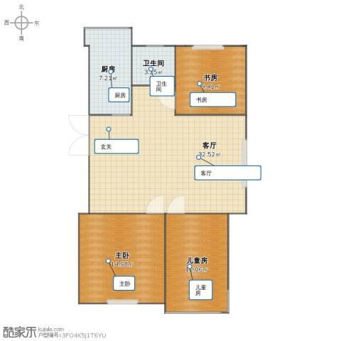 鸿雁名居3室1厅1卫1厨79.40㎡户型图