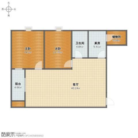 上城上林苑2室1厅1卫1厨85.00㎡户型图