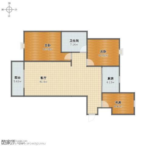 金水华都3室1厅1卫1厨98.00㎡户型图