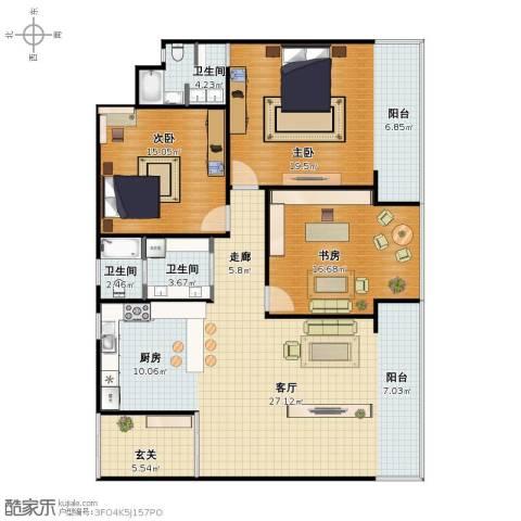 后龙小区3室1厅1卫3厨124.00㎡户型图
