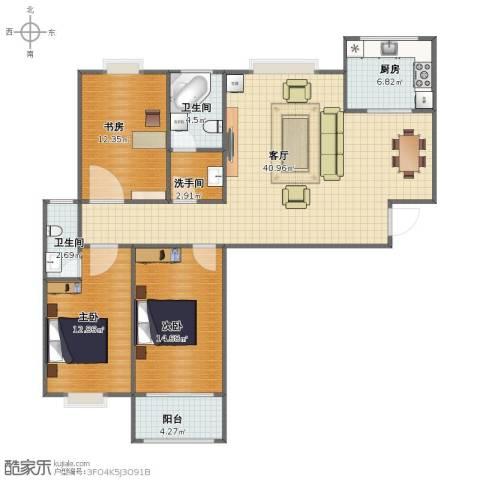 万马滨河城19193室1厅1卫2厨102.00㎡户型图